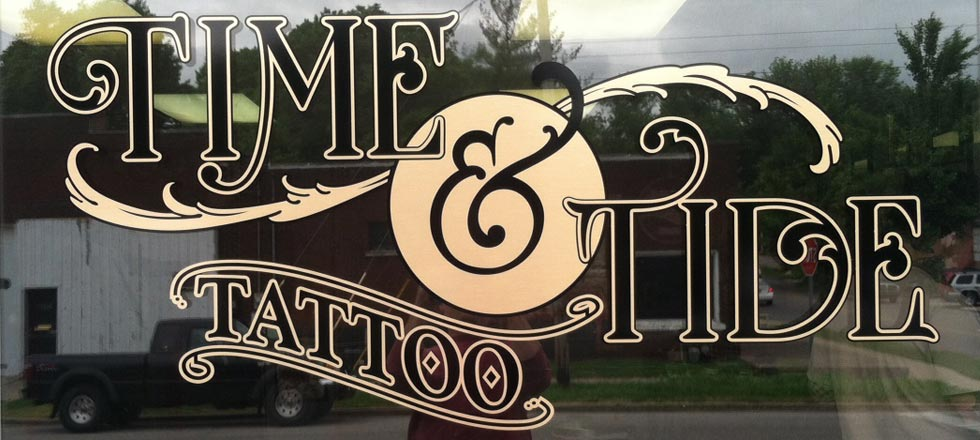 Time & Tide Tattoo Sign by Delphi Signs